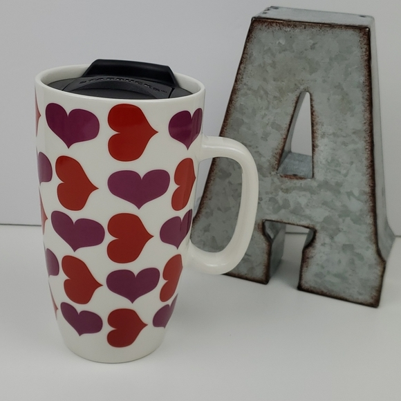 Starbucks 2020 Travel Mug Lid Hearts Ceramic Cup